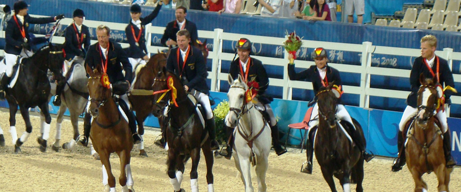 Team Germany win Eventing Gold at the Hong Kong Olympics 2008.